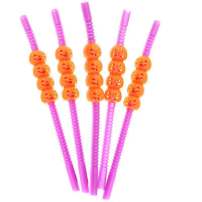 Pumpkin Drinking Straws Purple Plastic Halloween Theme Party Supplies - Halloween Theme Party Supplies