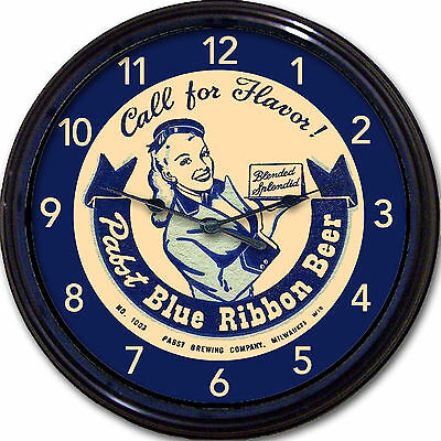 Pabst Blue Ribbon PBR Beer Coaster Wall Clock Milwaukee WI Ale Lager Man Cave  for sale  Cherry Hill