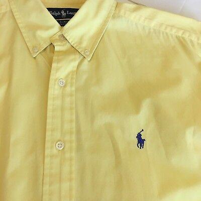 Ralph Lauren Blake Mens Size Large Yellow Short Sleeve Casual Shirt Blue Pony L