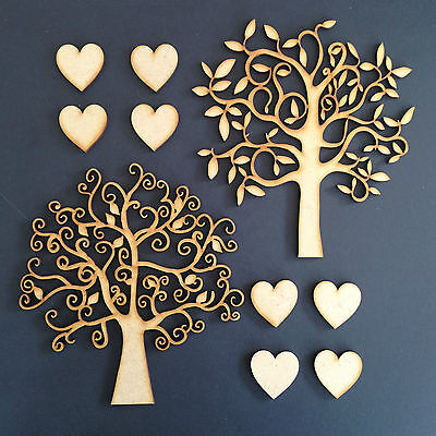 Wooden MDF Tree Shape Family Christmas Wedding Guestbook Crafting Pack Of 2
