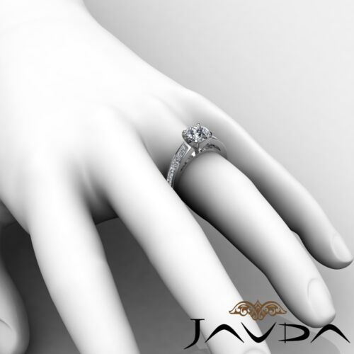 Round Brilliant Diamond Engagement Channel Ring GIA F SI1 14k White Gold 2.7ct 5