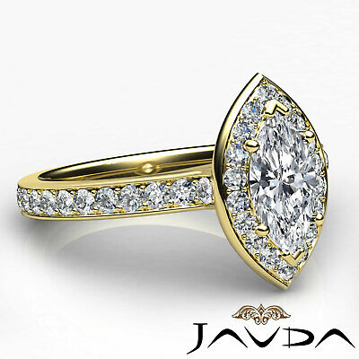 Cathedral Halo Pave Set Marquise Shape Diamond Engagement Ring GIA F VVS2 0.95Ct 11