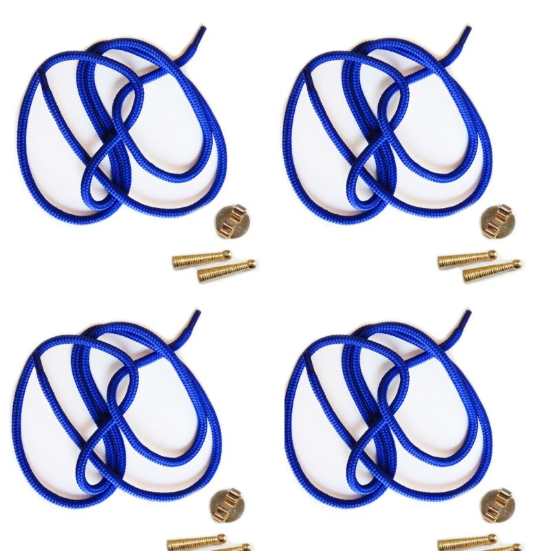 Blank Bolo Tie Parts Kit Round Slide Textured Tips Blue Cord Goldtone Pk/4