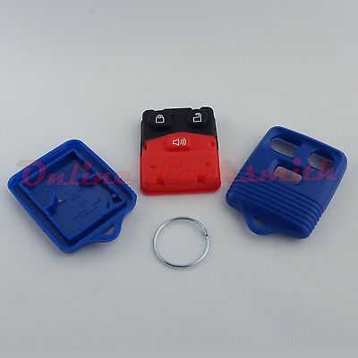 Empty Remote Alarm Replacement Shell Case For Ford 3 Buttons Keyless Entry Blue