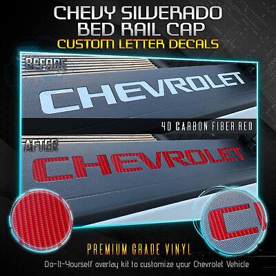 Vinyl Bed Rail - Bed Rail Cap Vinyl Decal x2 Fit 2014-2018 Chevrolet Silverado - 4D Carbon Fiber