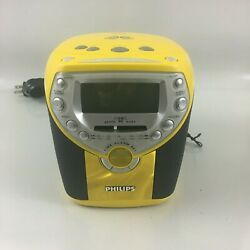 RARE Philips Clock CD Player AM FM Radio Alarm Clock AJ3957/17 Yellow