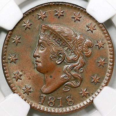 Click now to see the BUY IT NOW Price! 1818 N 7 NGC MS 64 BN MATRON OR CORONET HEAD LARGE CENT COIN 1C