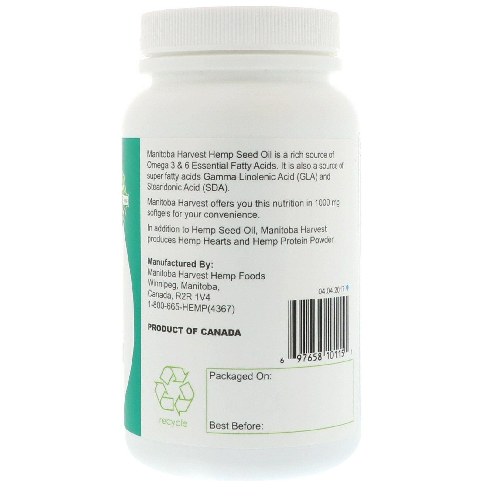 2 Pack's Manitoba Harvest Hemp Oil, 120 Softgel Capsules  720 mg Omega-3 & 6 3