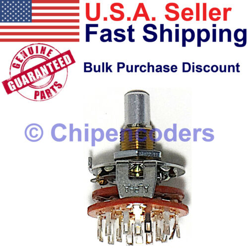 Alpha Rotary Switch 6 Pole 2 Position D-Shaft Panel Mount with Solder Lug