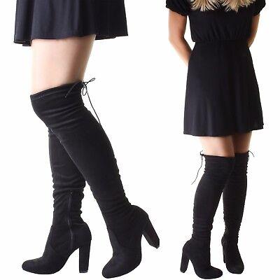 Wildleder Über Das Knie Stiefel (Damen Breit Oberschenkel über Das Knie Strecken Wildleder- hoher Absatz Stiefel)