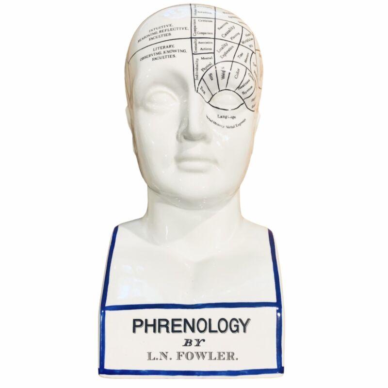 "Phrenology Head L.N. Fowler Scientific Psychology 12"" Porcelain Head Statue Bust"