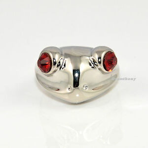 Fashion Cute FROG Big Red Cubic Zirconia Eyes Silver Ring  #LM24
