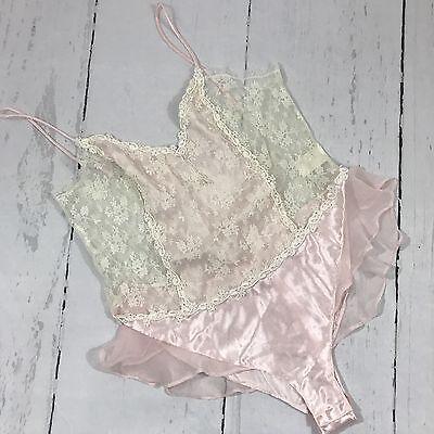 Vintage 80s 90s Pink Satin Lace Lingerie Bodysuit Teddy Delicates Medium B40