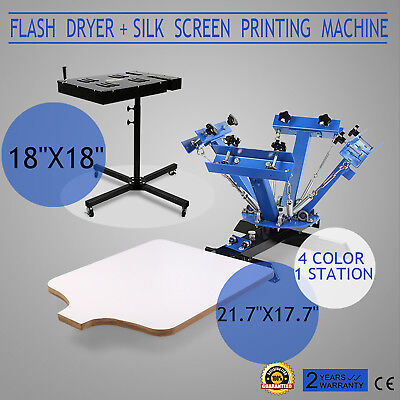 4 Color Screen Printing 1 Station Kit 18 X 18 Flash Dryer Wood Adjustable Press