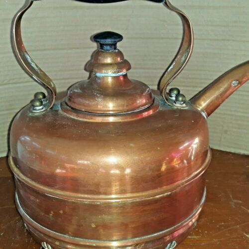 Vtg. Copper English Tea Kettle, Whistles