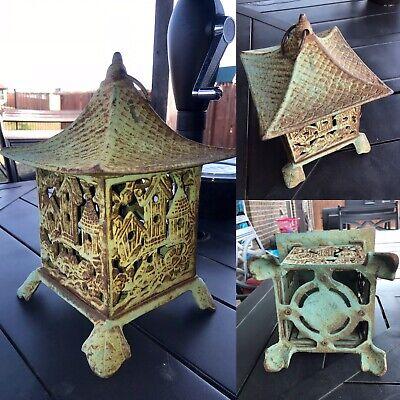Vtg Asian Japanese Cast Iron Green Pagoda Lantern Birdhouse Design Patio - Asian Lanterns