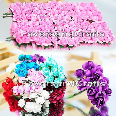 120 Paper Flowers Scrapbooking Roses Mulberry Lot Blue Wedding Embellishments