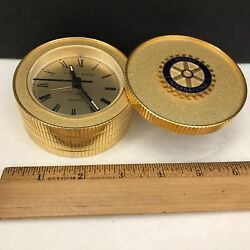 ROTARY INTERNATIONAL Desk Table Clock Metal Round Gold Tone Stuart Austin Quartz