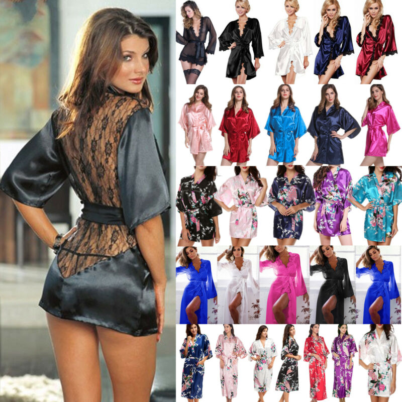 Damen Spitze Kimono Robe Morgenmantel Dessous Nachtwäsche Satinmantel Negligee