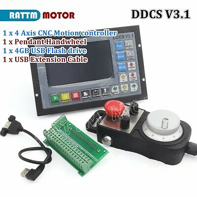 Cnc 4 Axis 500khz Ddcs V3.1 Motor Motion Controller Stand Alone Mpg Handhheel