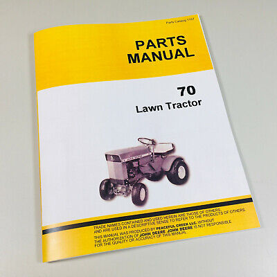 Parts Manual For John Deere 70 Lawn Tractor Garden Mower Catalog Mower All Years