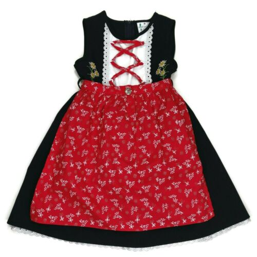 Heidi Landhaus German Dirndl Dress Girls Size 3 - 4 Blue Res Lace Up Embroidered