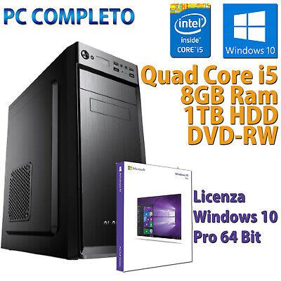 COMPUTER ASSEMBLATO NUOVO PC FISSO DESKTOP CORE i5-650 RAM 8GB HDD 1TB WIN 10
