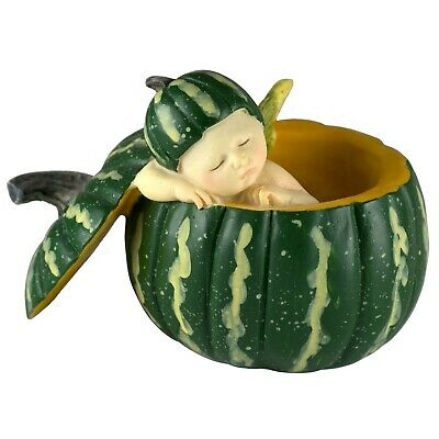 Baby Fairy Sleeping In Green Pumpkin Shell Figurine 2.5