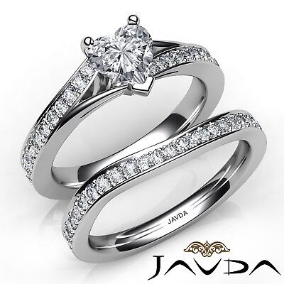 2.04ctw Pave Sidestone Bridal Set Heart Diamond Engagement Ring GIA J-SI1 W Gold