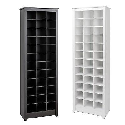 Shoe Storage Cabinet Cubby Storage Rack Tall Narrow Space-Saving 36 Pairs Wood