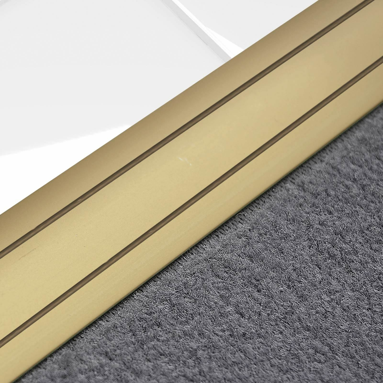 Alu Übergangsprofil Teppichschiene Schweller Laminat Parkett Profil flach 36mm  Gold