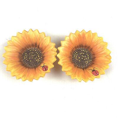Yankee Candle Set of 2 Sunflower w/ Ladybug Candle Holders, Tealight or Votive