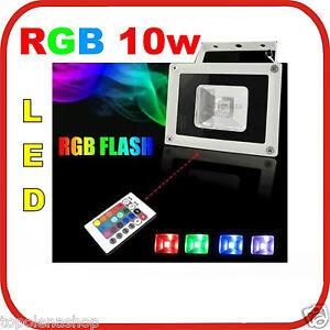Faro faretto rgb led 10w multicolor colori tenuta stagna for Faretto led rgb