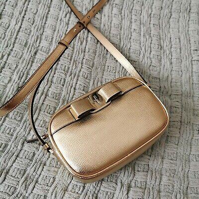 Authentic SALVATORE FERRAGAMO gold leather Vara Bow Crossbody Bag NWT