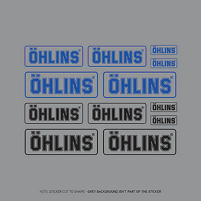 SKU2404 - Set Of 12 Ohlins Stickers - Decals - Motorcycling - Black & Blue Text