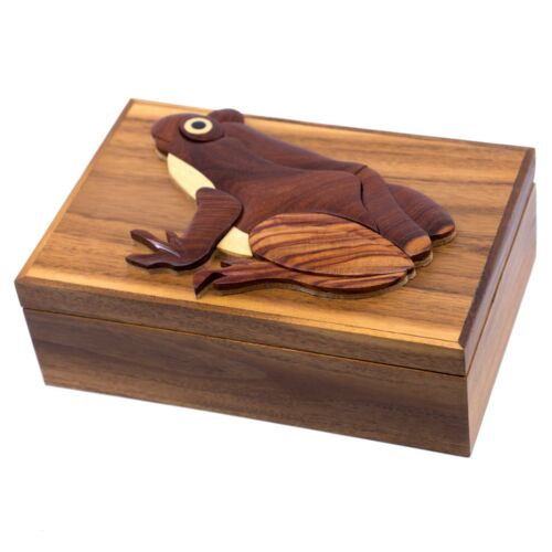 "Wood Intarsia Frog Large Size Jewelry Box Trinkets 9"" x 6"" Handcrafted New!"