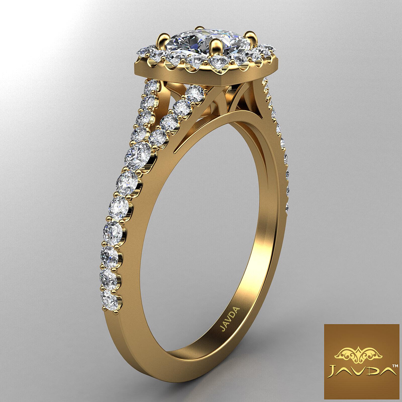 Split Shank Cushion Diamond Engagement Yellow Gold U Pave Ring GIA H VVS2 1 Ct 2