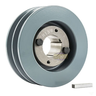 B Section Dual Groove 2 Pc 5 Pulley W 1-38 Sheave Shiv Cast Iron 5l V Belt
