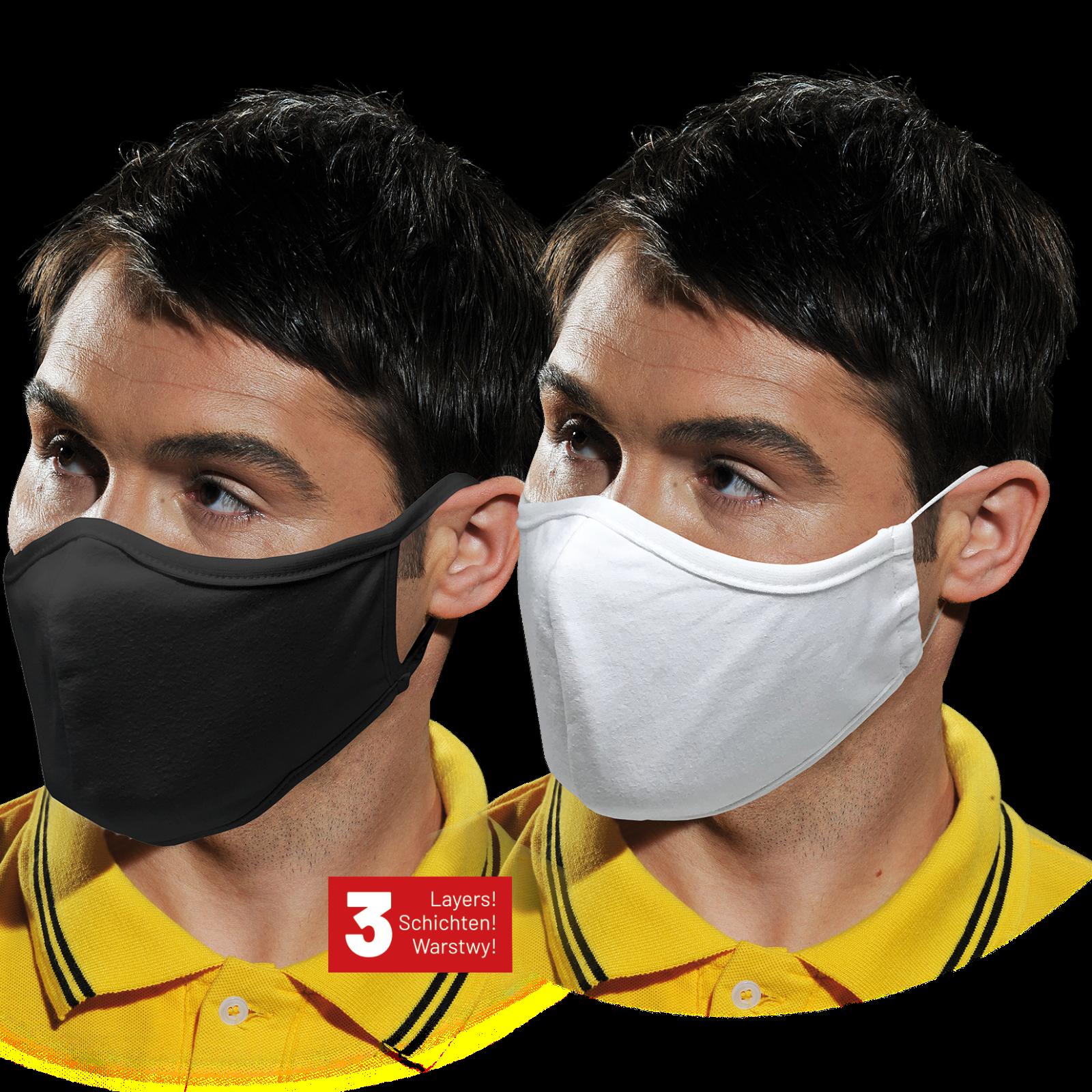 Maske 5 STÜCK Mundschutz 100% Baumwolle Stoffmaske waschbar Behelfsmaske 3-lagig