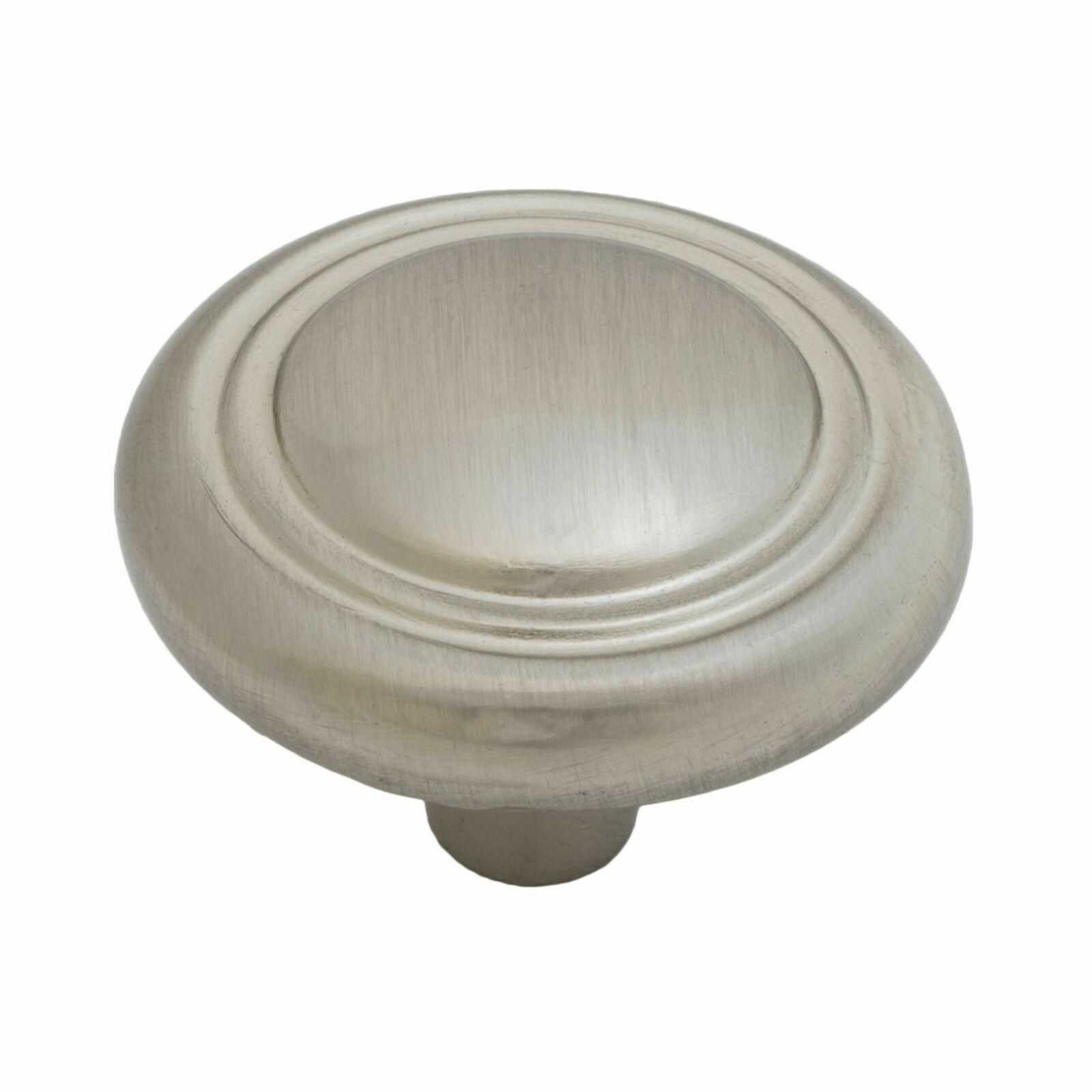 Button Rimmed Round Kitchen Cabinet Hardware Mushroom Knob 1 1/4″, Satin Nickel Building & Hardware