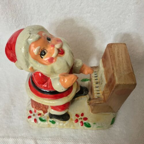 Vintage 1950s Paper Mache' Santa Playing the Piano