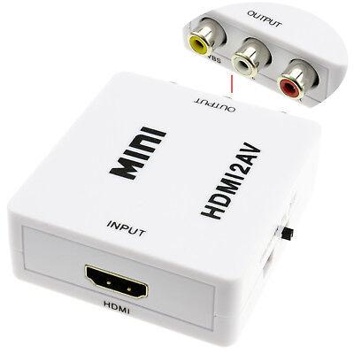 Adaptador Conversor Señal Video HDMI HDTV a AV RCA Analógica - Blanco