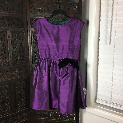 American Girl Girls Dress 16 Purple Velvet Bow Pintuck Pleat