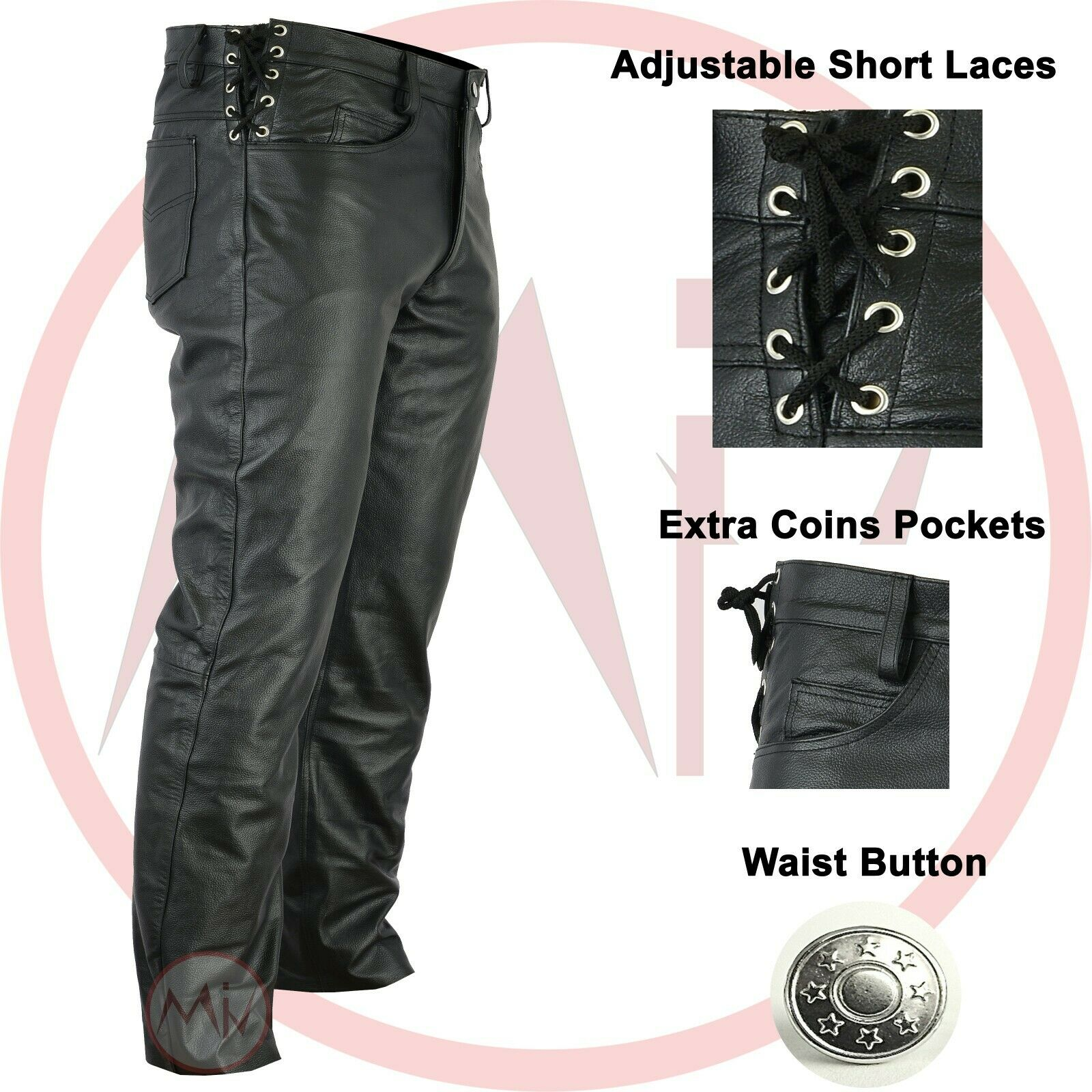 Men's Black Leather Pant Genuine Leather Waist Laces Size 28