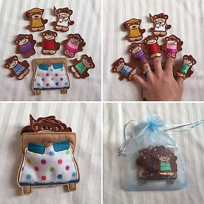 Five Puppets (Five Little Monkeys Jumping On The Bed Finger Puppets Set - 8 Pcs - Quiet Play  )