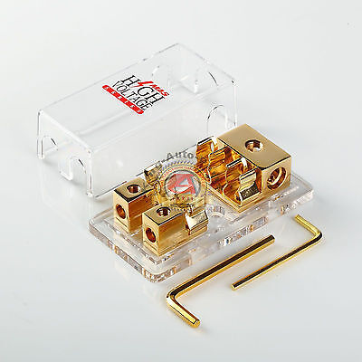 GOLD PLATED ROAD RAGE 2-GANG AGU FUSE BLOCK THREE 4 GAUGE INPUT TWO 8 GA OUTPUT