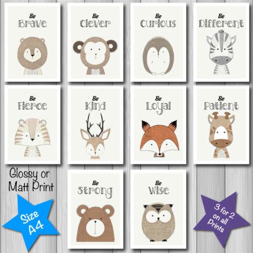 Cute Modern FOREST ANIMAL QUOTE Nursery Baby Christening Decor Art Print