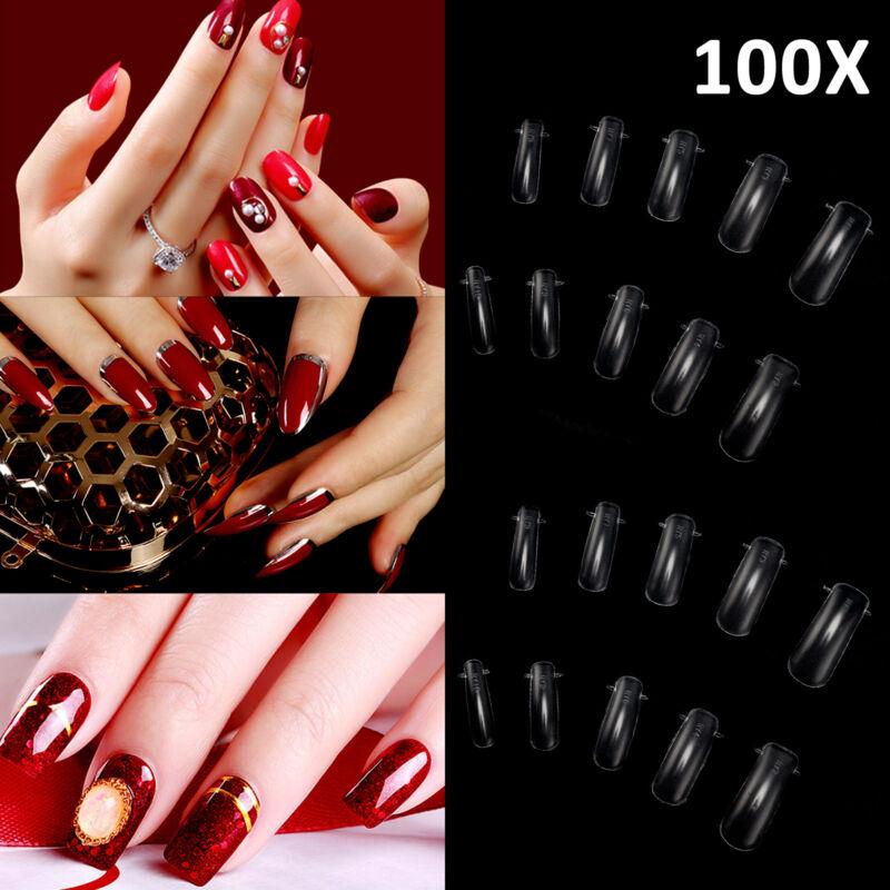 100St. Nagel Dual Tips Box Popits klar Poly AcrylGel Nail Verlängerung UV LED DE