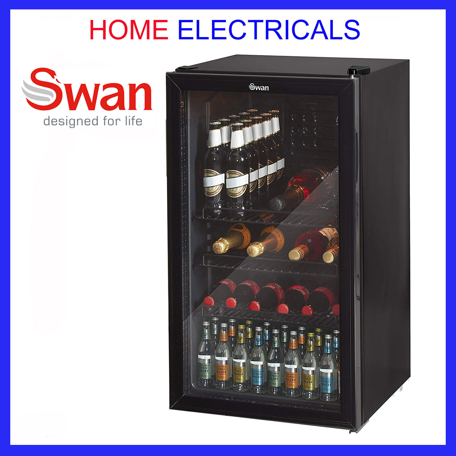 Swan Under Counter Chiller Cooler Fridge Beer Cans Bottles Wine Drinks SR13020BN