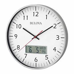 Bulova Clocks Manager Digital Decorative Glass Hanging Wall Clock (Open Box)